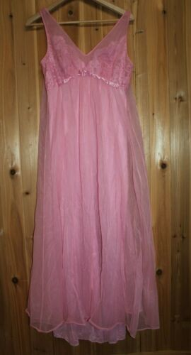 Vtg Vanity Fair size 34 Long Nightgown Lace Sheer Evening Night Gown Pink