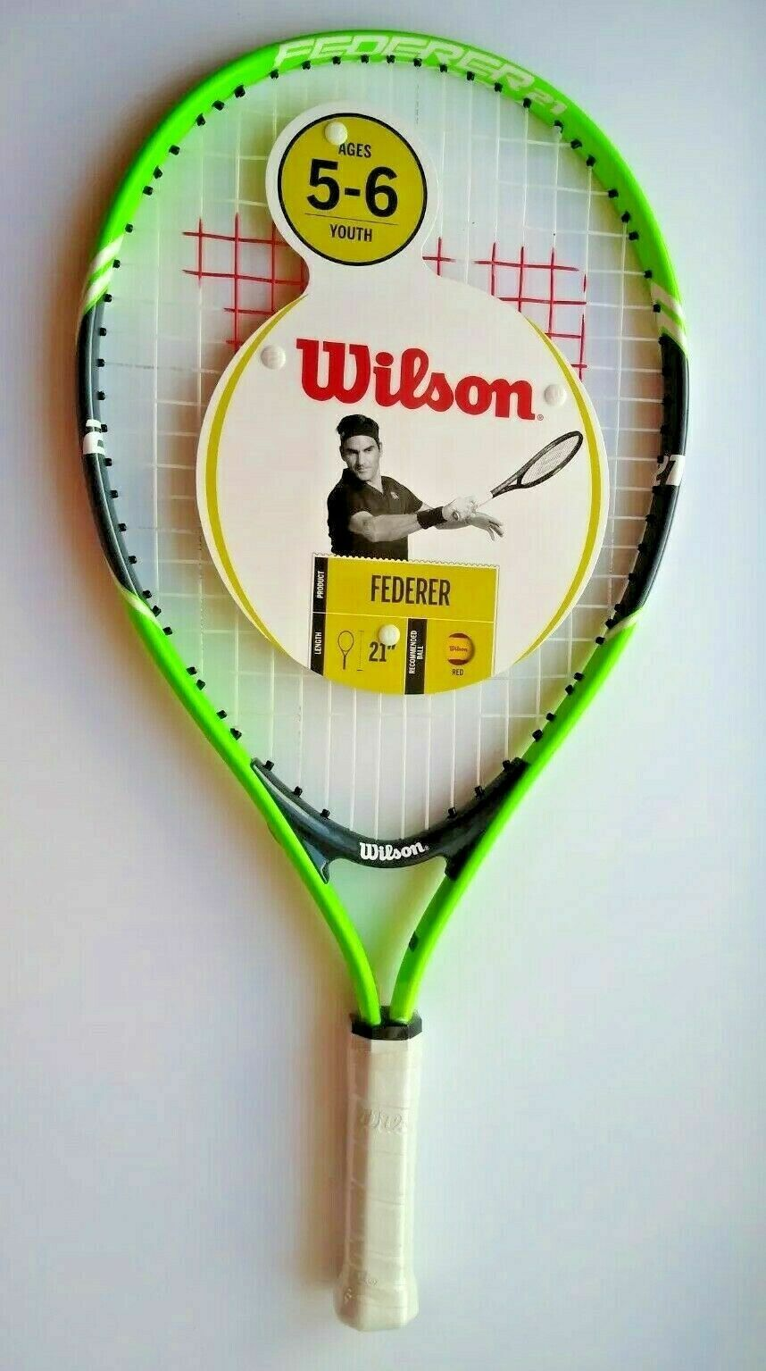 Wilson Federer Jr 21″ Tennis Racket Lime Green Ages 5-6y Racquets