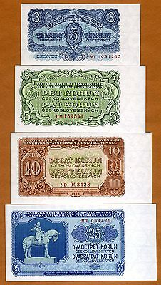 SET Czechoslovakia, 3 5 10 25 Korun, 1953, P-79b-80b-83b-84b, UNC - $18.99
