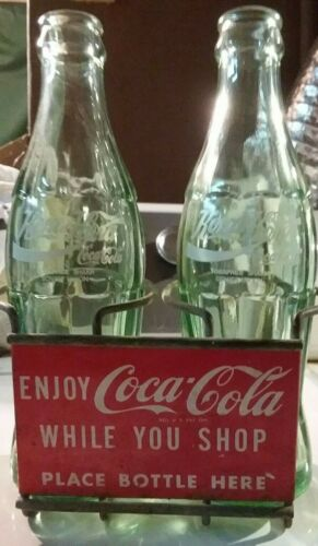 Vintage Coca-Cola 2 Bottle Shopping Cart Bottle Holder Carrier Tin Sign Original
