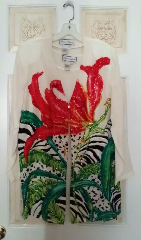 GORGEOUS Diane Gilman 100% silk Floral Sequin Jacket & Sleeveless Top Sz S