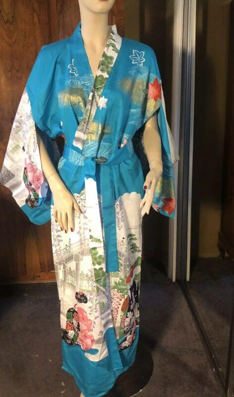 Vintage Kimono Duster Long Japanese Floral Boho Robe Cotton Made In Japan Maxi