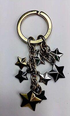 Coach Beautiful Stars Keychain With Gold & Black Dark Silver Stars F63987
