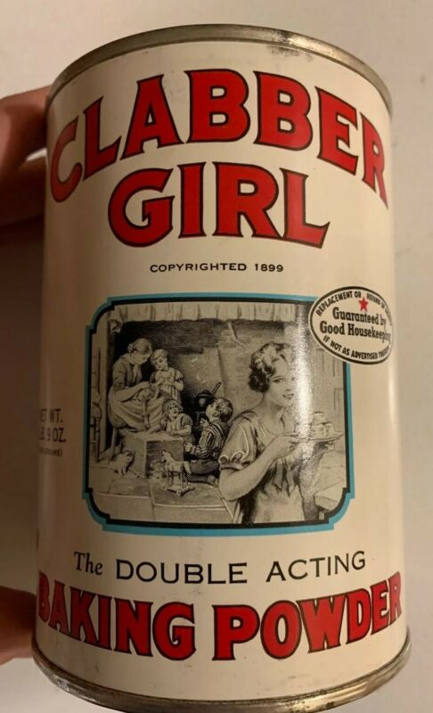 1970's Unopened Clabber Girl Baking Powder Tin Paper Label Can NOS Full