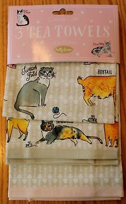 MILLY GREEN CAT BREEDS KITCHEN TOWELS 3 PC SET SIAMESE TABBY MOTHERS DAY GIFT