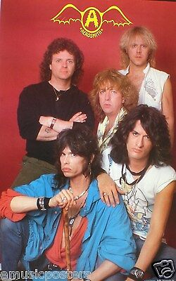 """AEROSMITH """"YOUNG SHOT OF BAND & CLASSIC OLD LOGO"""" POSTER-Steven Tyler, Joe Perry"""