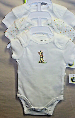 LITTLE ME 100% COTTON 3 pack CUDDLY GIRAFFE Lap Shoulder Bodysuits BOY SIZES NWT