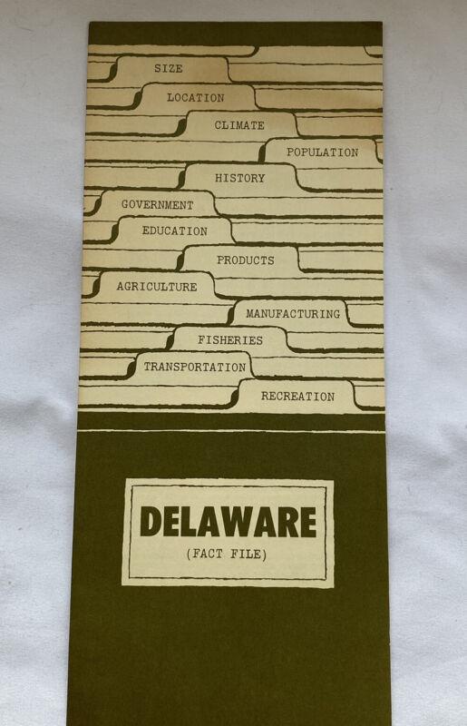 Vintage Delaware Fact File Brochure Fact Sheet Tourism Travel