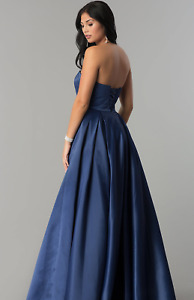 BRAND NEW- Strapless Navy Ballgown with Corset Back