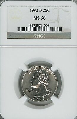 1993 D  WASHINGTON QUARTER  NGC  MS 66