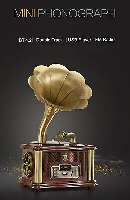 Bluetooth Phonograph Record Player Turntable Vintage Gramophone with Horn Newest