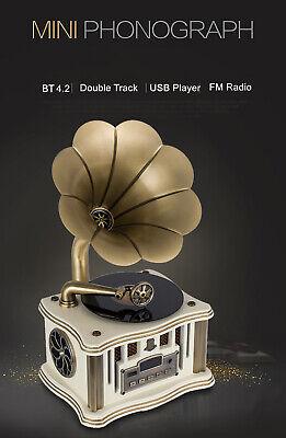 Bluetooh USB Vintage Classic Gramophone Phonograph Stereo HIFI Speaker NEW U8I3
