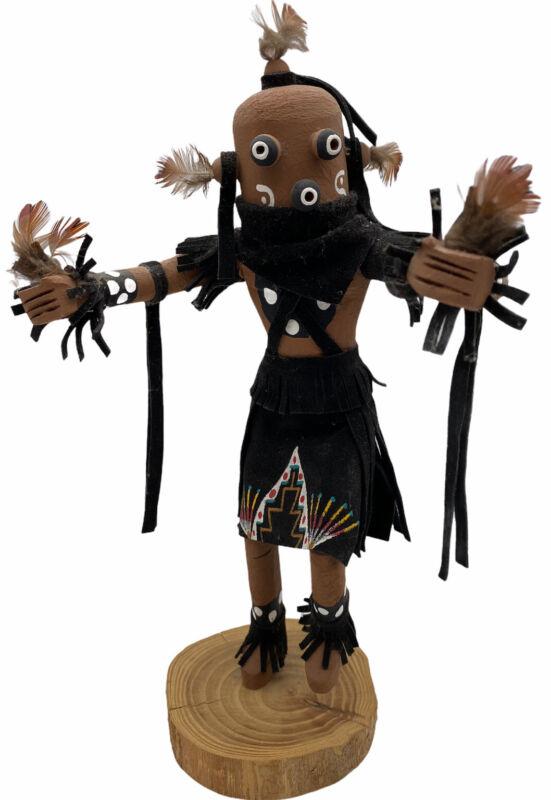 "KACHINA Doll W. EDSITTY NAVAJO Mudhead 11"" doll, 1"" base Leather Feathers Black"