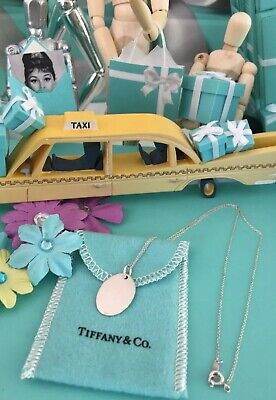 """Tiffany Co Oval Tag Charm Pendant Necklace Ready To Engrave 16"""" W Pouch Grads ()"""