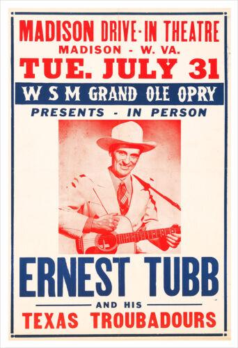 Ernest Tubb concert poster print