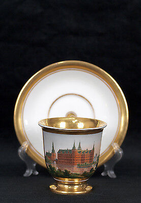 Antique Royal Copenhagen Veduta Cup Fredriksborg Castle Circa 1800