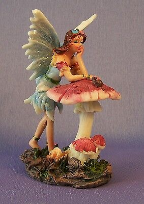 NEW Blue Fairy With Toadstool Decorative Figurine Ornament 11 cm High