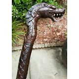 "CUSTOM 100% HANDCARVED 37"" LONG INTRICATE MAHOGANY DRAGON CANE-DESIGN STYLE #2"