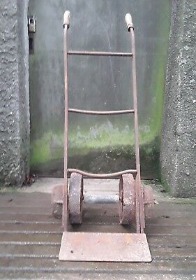 antique/vintage sack truck-iron rivet construction - garden ornament/industrial