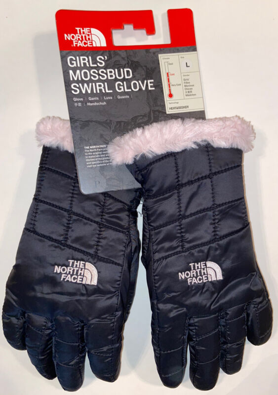 NWT The North Face Girls Mossbud Swirl Glove TNF Black & Purdy Pink Size LARGE