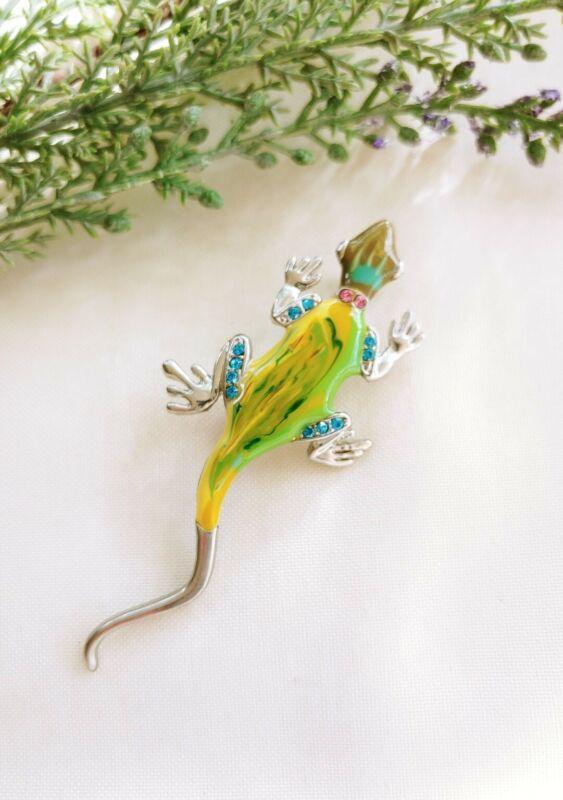 Brooch pin lizard iguana reptile gecko silver tone colored rhinestones enamel