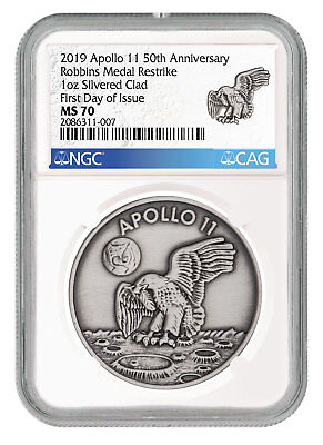 1969-2019 Apollo 11 Robbins Medals 1 oz Silver-Pltd Medal NGC MS70 FDI SKU55123