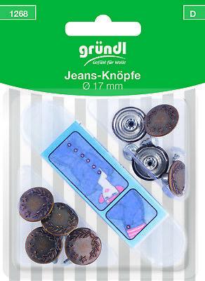 8 Jeans - Knöpfe + Werkzeug  für Hosen  Hemden  Nähfrei  Metall Farbe altmessing