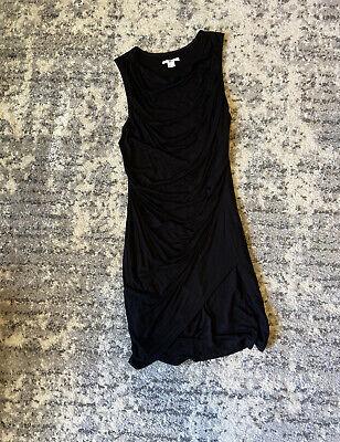 Helmut Lang Womens Sleeveless Fold Wrap Sheath Dress Black Size S Small EUC