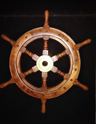 Vintage Wooden Ships Helm Wheel-Brass Center-Boat Nautical Decor-Beautiful Wood
