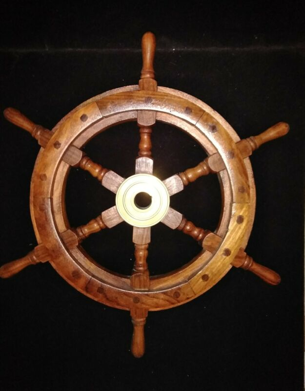 Vintage Wooden Ships Helm Wheel-Brass Center-Boat Nautical Decor-Beautiful Wood