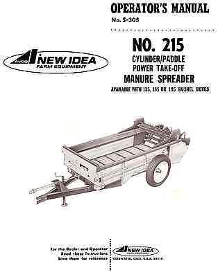 New Idea 215 Pto Manure Spreader Operators Manual S-305