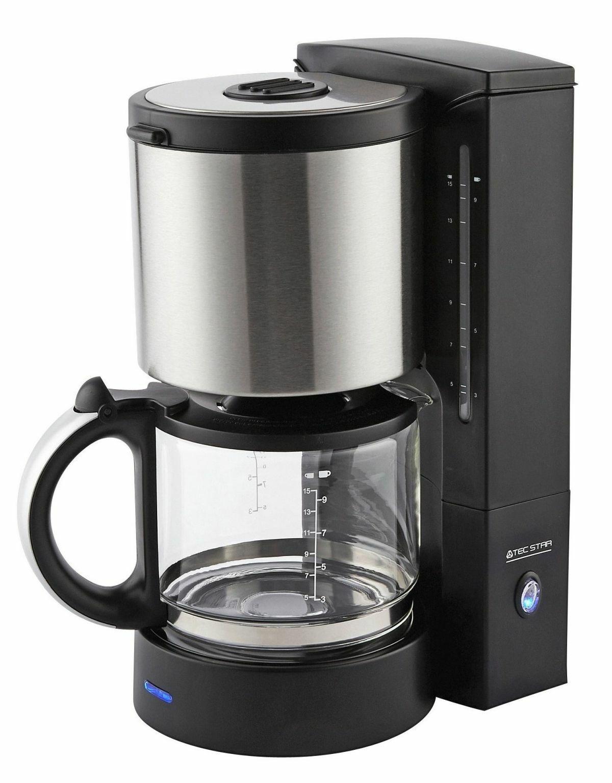 Edelstahl Glas Kaffeeautomat 1,25 Liter 10 Tassen 1080W Filter-Kaffeemaschine