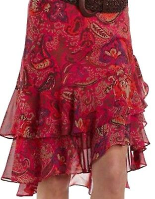 Chaps by Ralph Lauren Misses Chiffon Paisley Georgette Ruffled Skirt L Large XL