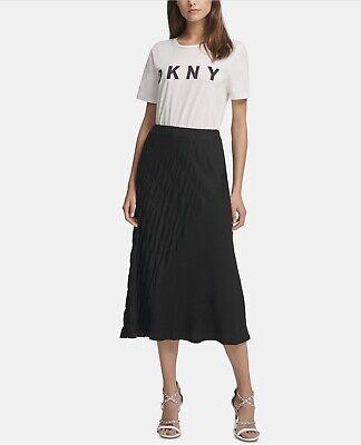 Dkny Textured Midi Pull-on Skirt Black Size Medium