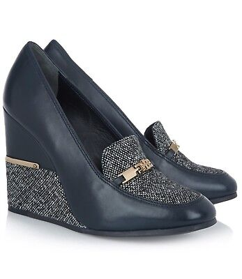 TORY BURCH Cherie Leather & Boucle Wedge Pumps, UK 5.5, US 8.5 - RRP £310