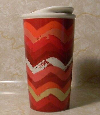 STARBUCKS Dot Aggregation 2014 10fl oz Coffee Travel Tumbler Lid Mug Chevron Red