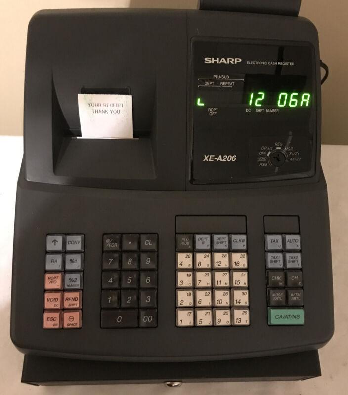 "Sharp XE-A206 Electronic Cash Register ""Slightly Used"" w/Manual - No Keys"