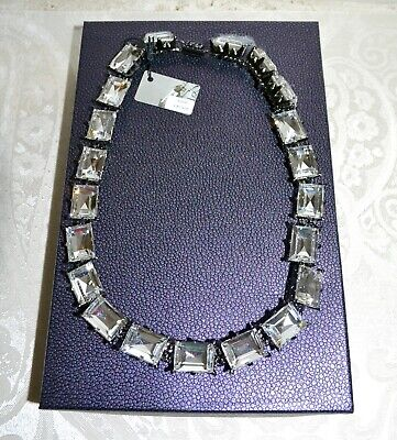 NIB $437 Rodrigo Otazu ROCO LRCO Bold Gunmetal Chain Cut Crystal Necklace N2043 tweedehands  verschepen naar Netherlands