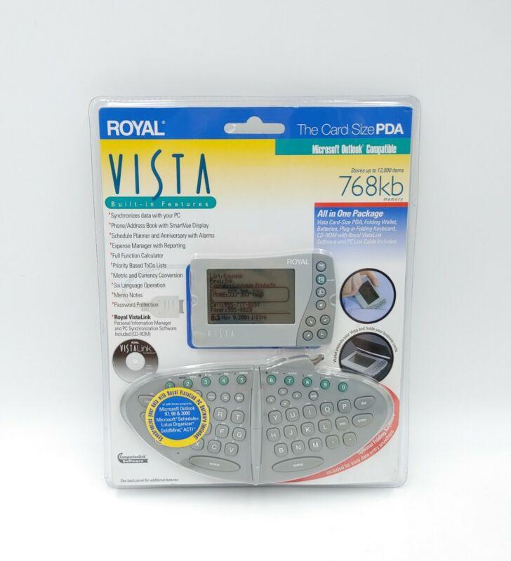 Royal Vista Card Size PDA Electronic Organizer w Detachable Keyboard NEW