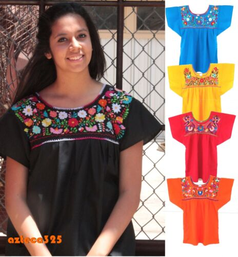 Mexican Blouse Puebla Hand Embroidered Assorted Sizes and Colors S to 3XL
