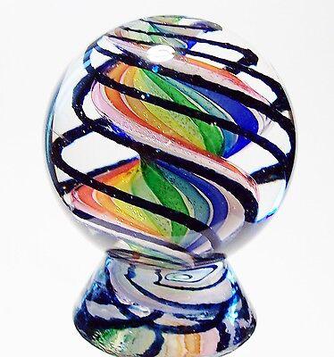"EDDIE SEESE ART GLASS MARBLES 2"" RAINBOW EXOTIC DICHROIC RIBBON CORE MARBLE"