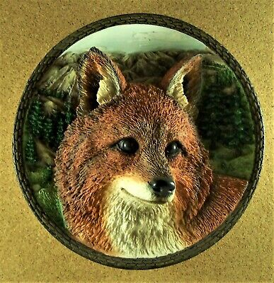 THE FOX Plate 3D Sculptural Faces of the Wild #6 1997 Bradford Exchange Red
