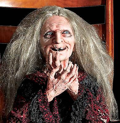 LifeSize Animated ROCKING LAUGHING GRANNY HAG WITCH-Haunted House Halloween Prop - Rocking Granny Halloween