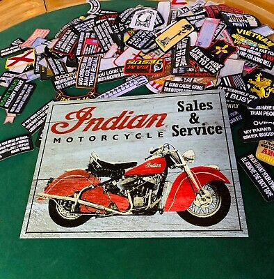 INDIAN MOTORCYCLE SALES & SERVICE Tin Metal Sign Wall w FREE PATCH decor vintage