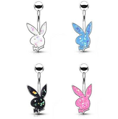 GLITTER PLAYBOY BUNNY BELLY BUTTON RING NAVEL PIERCING JEWELRY (14G 3/8