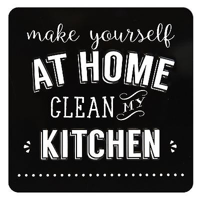 TIN MAGNET - MAKE YOURSELF AT HOME, CLEAN MY KITCHEN Large Tin Magnet