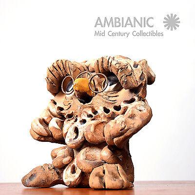 Mid Century Modern Ceramic Owl Pottery Signed