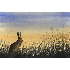 HARE RABBIT PRINT christmas present gift art bunny painting size A4 signed