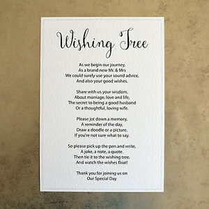 A4 Wishing Tree Wedding Sign - 260gsm Hammer Card