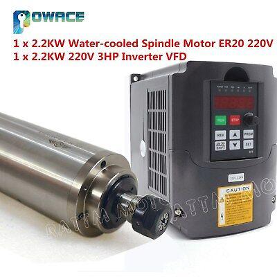 Cnc Router 2.2kw Water Cooled Spindle Motor Er20 220v Millhy 2.2kw Inverter Vfd